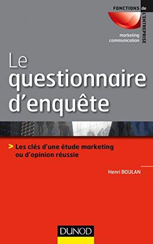 Le questionnaire d'enquête – Editions DUNOD